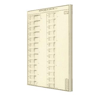 Carta litografiada de la población de Estados Unid Impresión En Lona