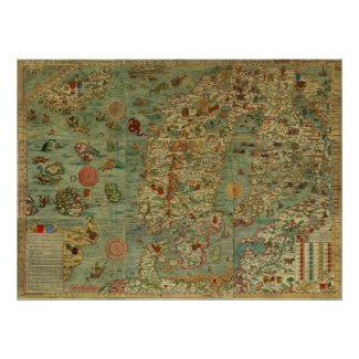 Carta Marina Map of Scandinavia by Olaus Magnus Poster