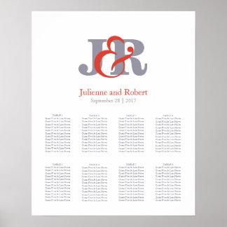 Carta moderna del asiento del boda del monograma póster