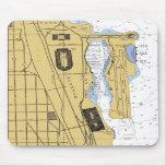 Carta Mousepad del puerto del parque de Chicago IL Tapetes De Raton