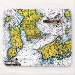 Carta náutica de Jamestown RI con los faros Alfombrillas De Ratón