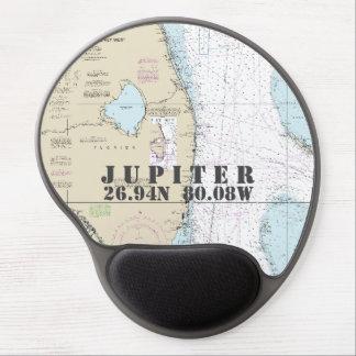 Carta náutica de Júpiter la Florida de la longitud Alfombrilla De Raton Con Gel
