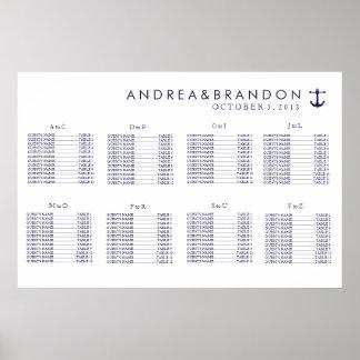 Carta náutica del asiento del boda de la marina de póster