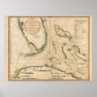 Carta náutica del golfo de la Florida Impresiones