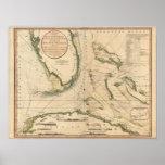 Carta náutica del golfo de la Florida Póster