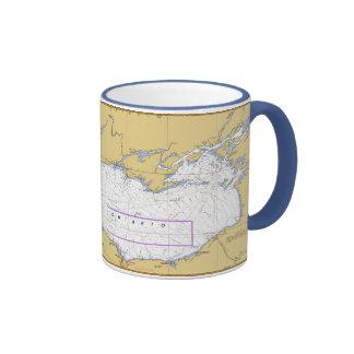 Carta náutica del lago Ontario Tazas De Café