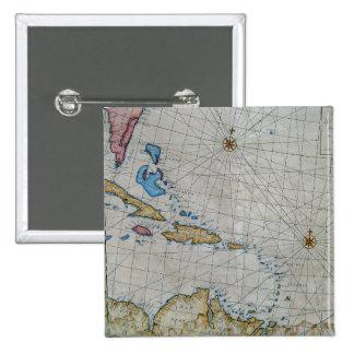 Carta náutica del vintage del Caribe Pin