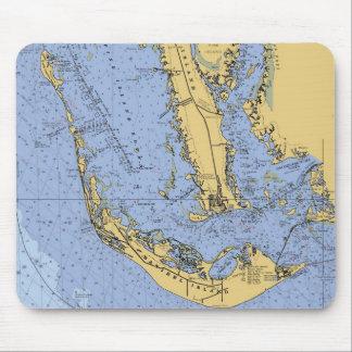 Carta náutica Mousepad de la Florida de la isla de Alfombrilla De Ratón