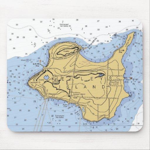 Carta náutica Mousepad de la isla de Kellys, OH