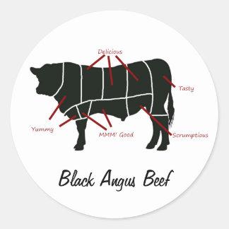 Carta negra del carnicero de la carne de vaca de pegatina redonda