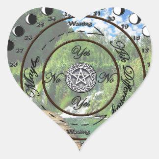 Carta pagana del péndulo de Wiccan Pegatina En Forma De Corazón