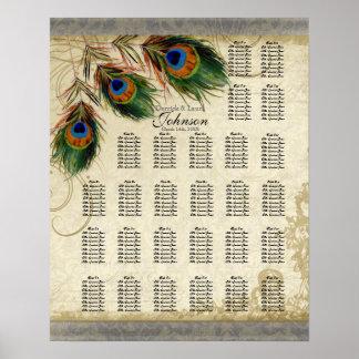 Carta, pavo real y plumas del asiento de la tabla  impresiones