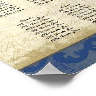 Carta, pavo real y plumas del asiento de la tabla  póster