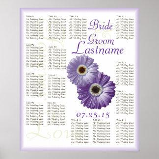 Carta púrpura del asiento de la huésped del boda d póster
