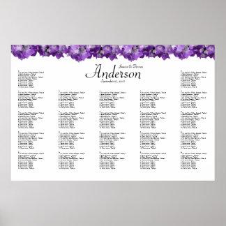 Carta púrpura del asiento de la recepción nupcial impresiones