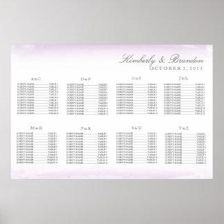 Carta púrpura del asiento del boda de la acuarela póster