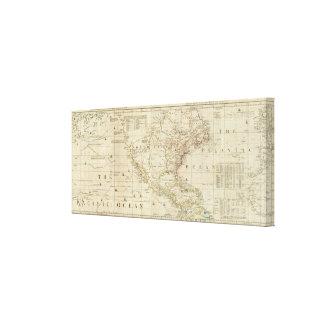 Carta que contiene las costas de California Lienzo Envuelto Para Galerias