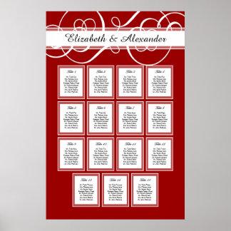 Carta roja y blanca del asiento de la tabla del póster