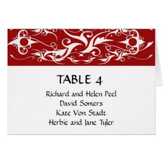 Carta roja y blanca del asiento del boda del tarjeta pequeña