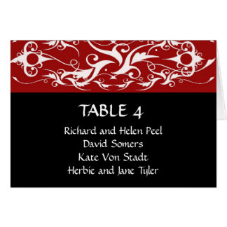 Carta roja y negra del asiento del boda tarjeta pequeña