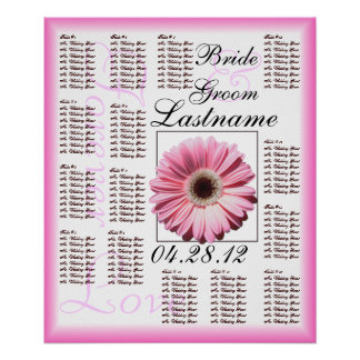 Carta rosada del asiento de la huésped del boda de poster