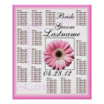 Carta rosada del asiento de la huésped del boda de póster