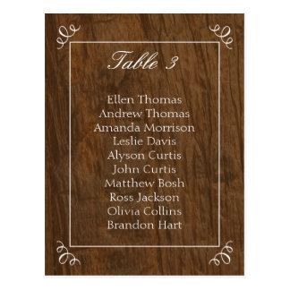 Carta rústica del asiento del boda del árbol postales