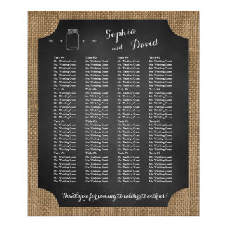 Carta rústica única del asiento del boda del tarro póster