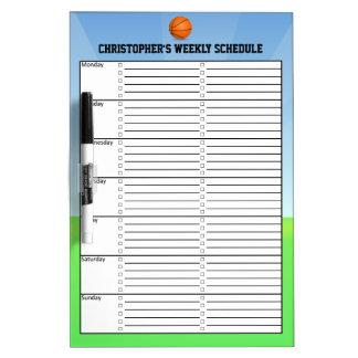 Carta semanal del calendario del horario del niño pizarras blancas
