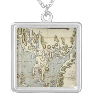 Carta topográfica de la bahía de Narraganset Colgante Cuadrado