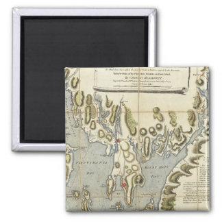Carta topográfica de la bahía de Narraganset Iman De Frigorífico