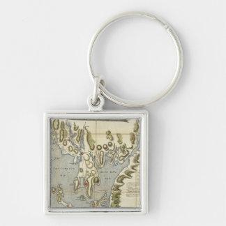 Carta topográfica de la bahía de Narraganset Llavero