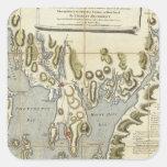 Carta topográfica de la bahía de Narraganset Calcomania Cuadradas