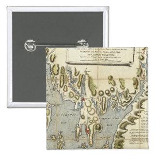 Carta topográfica de la bahía de Narraganset Pin Cuadrada 5 Cm