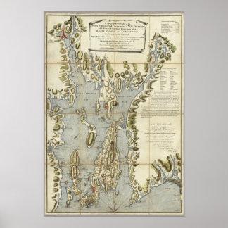 Carta topográfica de la bahía de Narraganset Póster