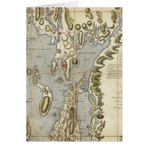 Carta topográfica de la bahía de Narraganset Tarjetón