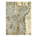Carta topográfica de la bahía de Narraganset Tarjetas Postales