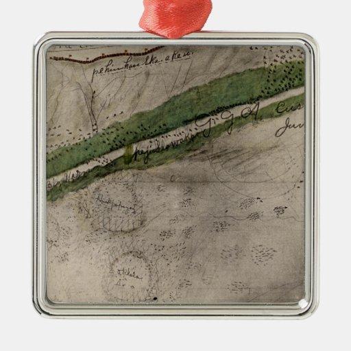 Carta topográfica del campo de batalla del Litt Ornamentos Para Reyes Magos
