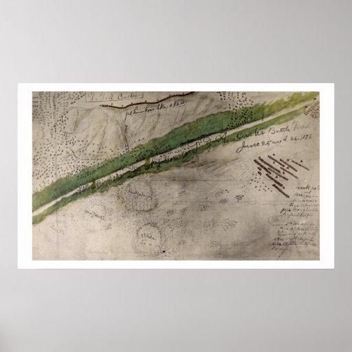 Carta topográfica del campo de batalla del Litt Posters