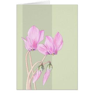 Carta verde de los Cyclamens rosados Tarjeta De Felicitación
