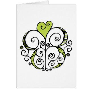 Carta verde del adorno del corazón tarjeta de felicitación
