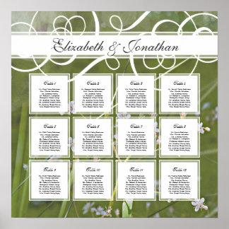 Carta verde del asiento de la tabla del boda de la impresiones