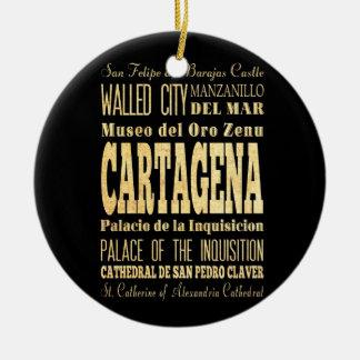 Cartagena City of Colombia Typography Art Ceramic Ornament