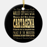 Cartagena City of Colombia Typography Art Double-Sided Ceramic Round Christmas Ornament
