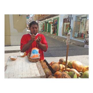 Cartagena - Coconut Vendor Postcard