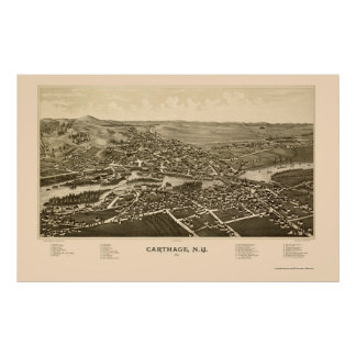 Cartago, mapa panorámico de NY - 1888 Impresiones