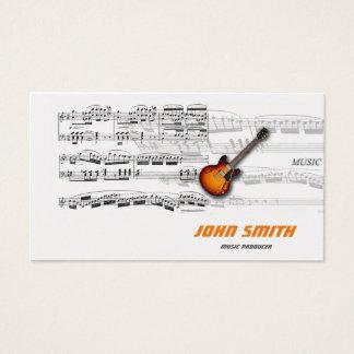 Cartão de visita - músico, partitura, guitarra business card