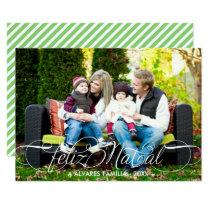 Cartão Feliz Natal Foto | Branco Fonte Script Card