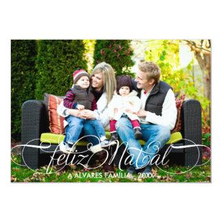 Cartão Feliz Natal Foto | Branco Fonte Script 5x7 Paper Invitation Card