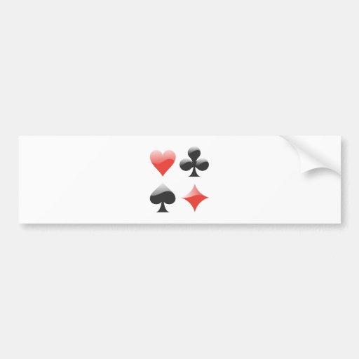 Cartas de juego color playing cards suits etiqueta de parachoque